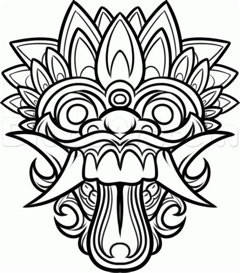 how to draw a balinese mask bali mask step by step