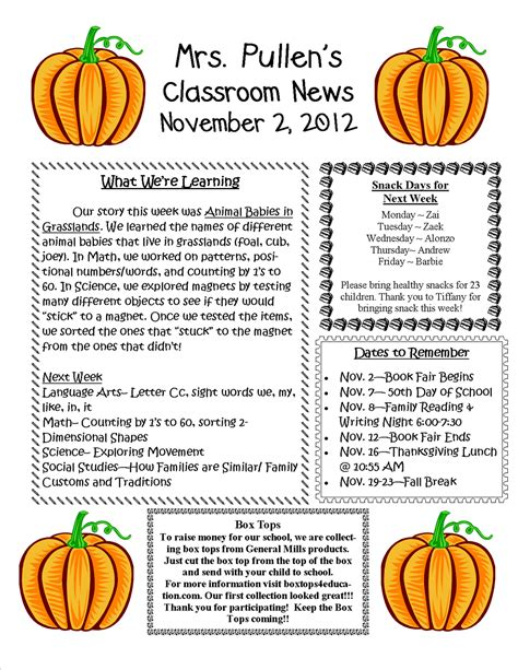 november newsletter template mrs pullen s kindergarten class november 2 2012 newsletter