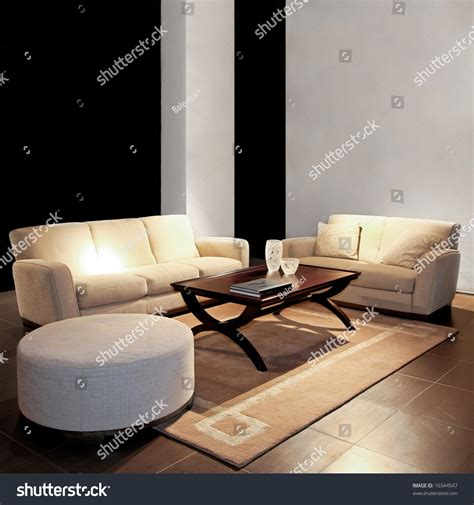 photos of living rooms with two sofas modern living room with two beige sofas stock photo