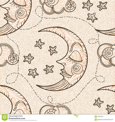 pattern moon drawing seamless pattern with moon and clouds stock vector