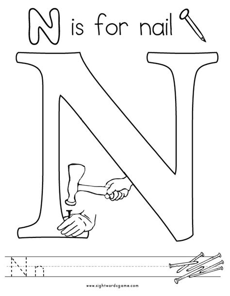Alphabet Coloring Pages Letter N Coloring Pages