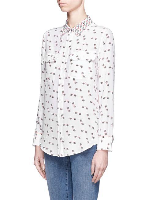 Ladybugs Blouse Size S lyst equipment slim signature ladybug print silk shirt in white