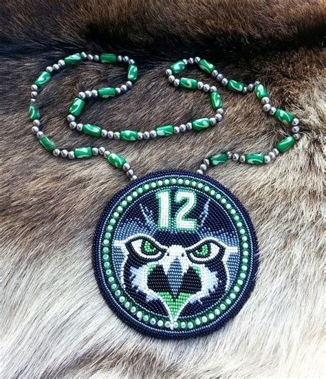 beadwork pictures beaded seahawk medallion by aweyodesigns