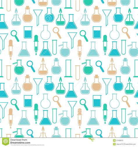 pattern making lab seamless pattern with laboratory equipment stock vector