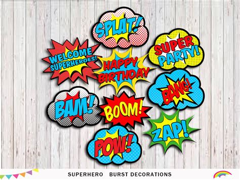printable superhero party decorations superhero printable party word bubbles party decorations