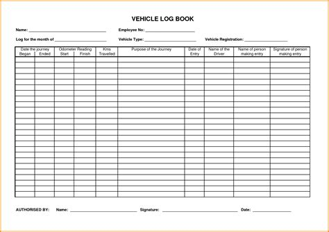 Memo Book Template Vehicle Log Sheet Vertola
