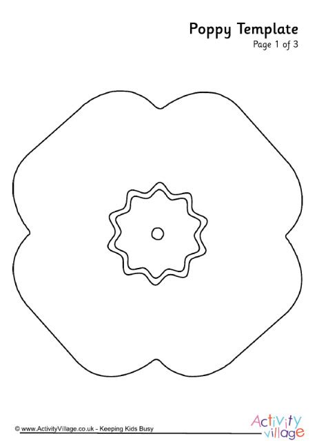 poppy template for children poppy template
