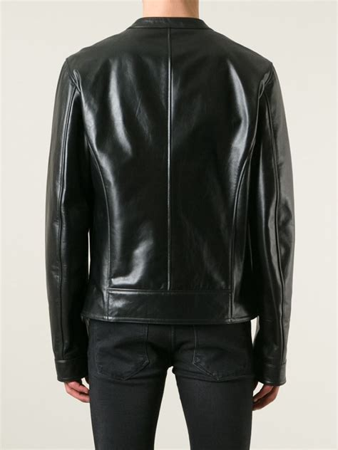 Circle Leather Jacket lyst dolce gabbana neck leather jacket in black for