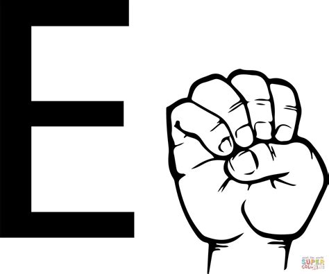 asl alphabet coloring pages asl sign language letter e coloring page free printable