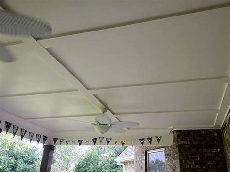 porch ceiling 4x8 sheets of hardi board and trimmed it