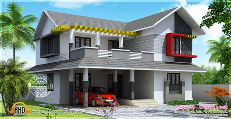 sloped roof home designs house plans also