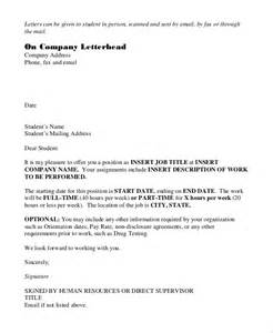 Cover Letter For Offer Of Employment by Cover Letter Offer Sle