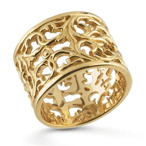 14k yellow gold filigree band ring