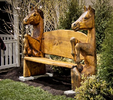 wooden horse bench carved horse bench wood carving bench and horse