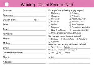 waxing client card client record card treatment