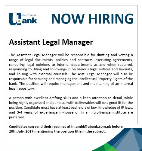 How To Hire An Assistant Manager Assistant Manager Position At U Microfinance Bank Ltd