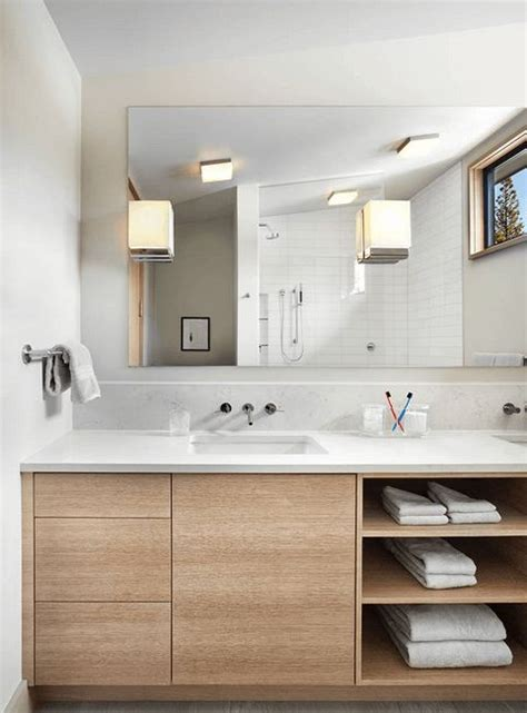 light wood vanity with exposed shelves light wood and