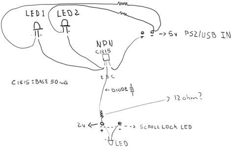 c1815 transistor circuit led illuminate keyboard using scroll lock key electrical engineering stack exchange