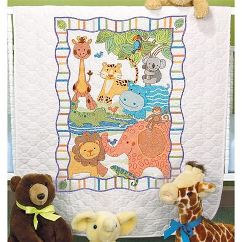 Sted Cross Stitch Quilt Kits by Baby Hugs Quilt Sted Cross Stitch Kit 43 Quot X 34 Quot Mod Zoo 6354360 Hsn
