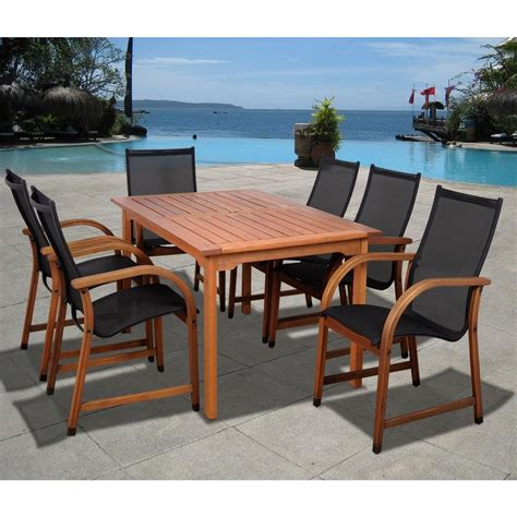 Wooden Patio Dining Sets Amazonia Bahamas Eucalyptus Wood 7 Rectangular Patio Dining Set Sc 361 6manha The Home Depot