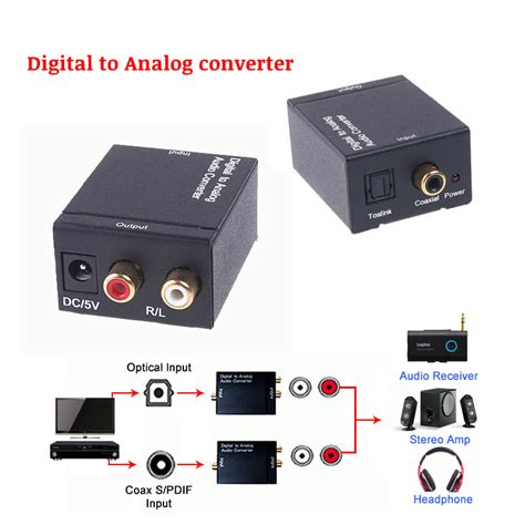 Murah Analog To Digital Audio Converter digital to analog converter digital optical coax coaxial toslink to analog rca l r audio
