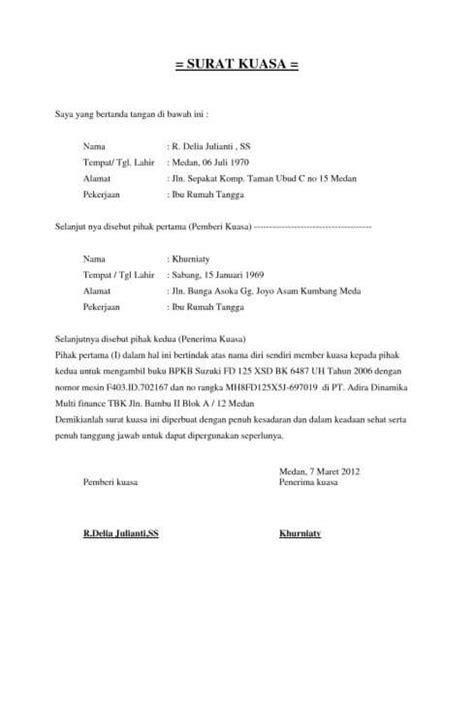 15 contoh surat kuasa dengan penulisan yang baik dan