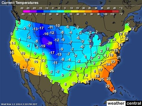 us weather map in celsius us weather current temperatures map celsius