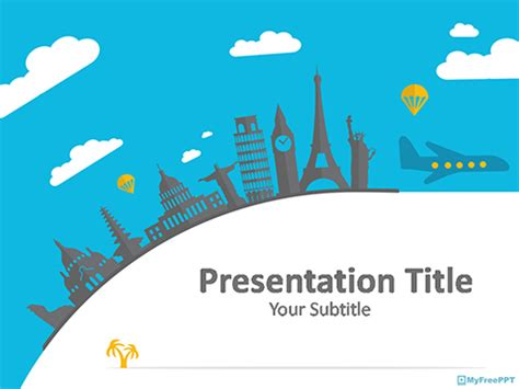 Free Travel Plan Powerpoint Templates Myfreeppt Com Powerpoint Travel Templates
