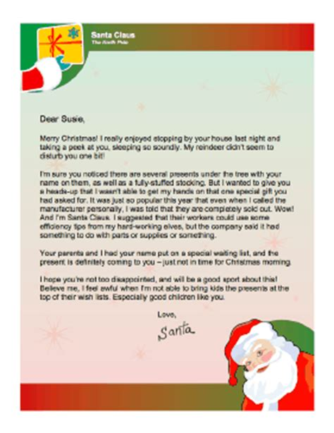 letter from santa when present will be late