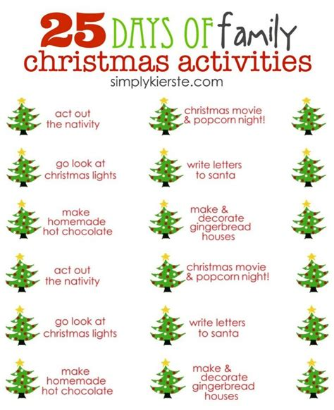 25 days of christmas office activities 25 days of family activities printable