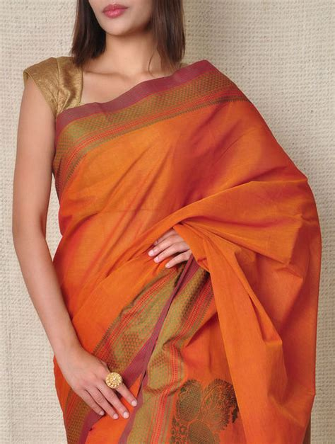 Buy Orange Kanchi Cotton Saree Online at Jaypore.com