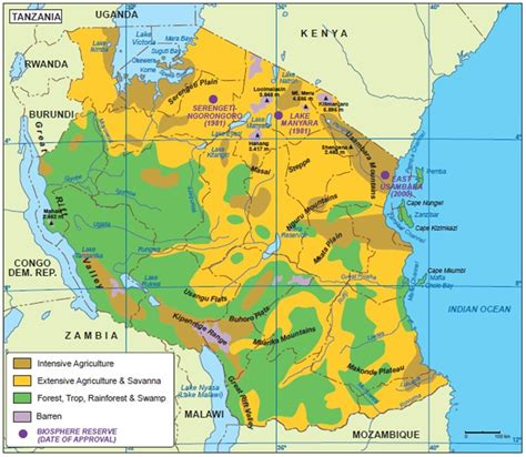 physical map of tanzania geography enviroment tanzania africa