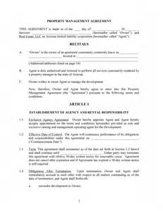 Management Agreement Template by Property Management Contract Template Free Microsoft