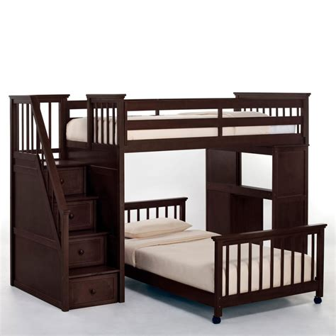 Wooden Bunk Beds With Futon Fantastic Bunk Beds With Stairs And Desk Designs Decofurnish