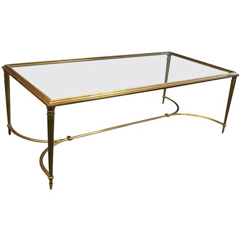 Vintage 1950 S French Gilt Brass Coffee Table At 1stdibs Antique Brass Coffee Table