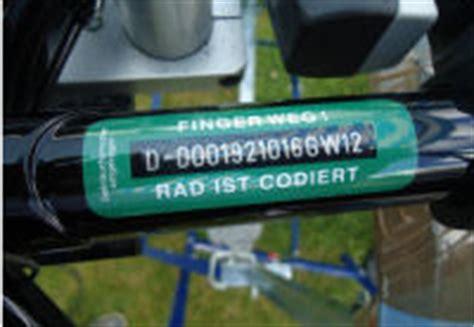 Fahrrad Aufkleber Diebstahlschutz by Fahrradcodierung