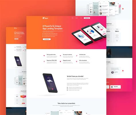 Web App Template Free by Mobile App Website Template Free Psd Psd