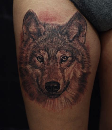 realistic wolf tattoo realistic wolf portrait on tigh