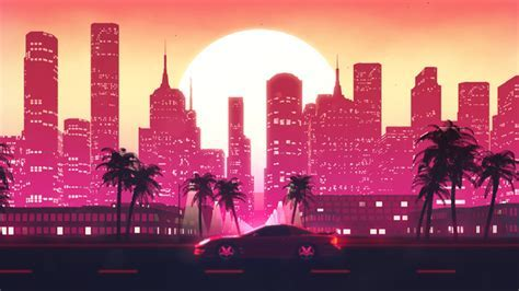 Outrun Retrowave City VJ Loop by motionsquared   VideoHive