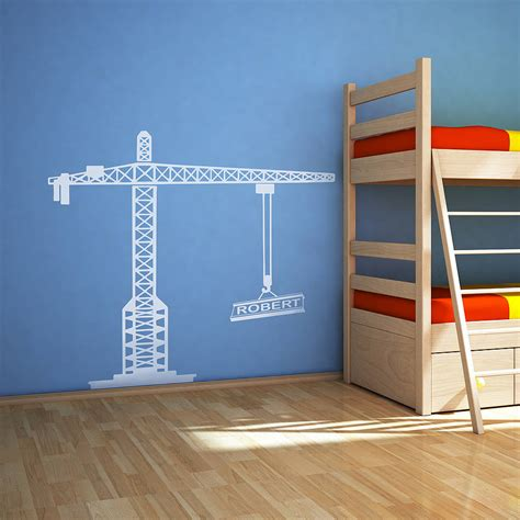 personalised vinyl wall stickers personalised crane vinyl wall sticker by oakdene designs