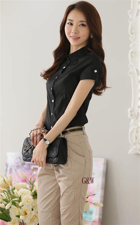 Shjt217080861342 Kemeja Hitam Baju Import kemeja wanita hitam lengan pendek model terbaru jual murah import kerja