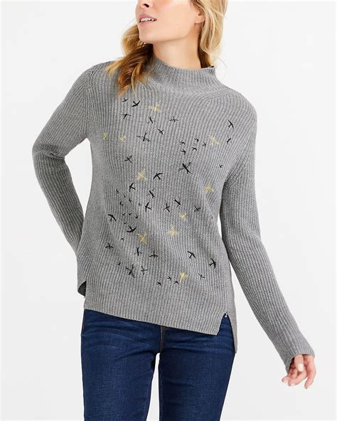 Embroidered Mock Neck Sweater mock neck embroidered sweater reitmans