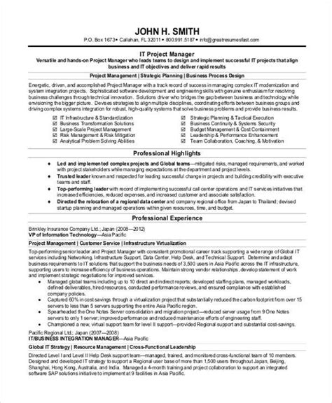 sle resume for project manager 28 project manager resume sle doc enernovva org