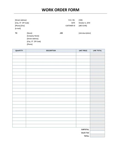 service work order template archives social funda