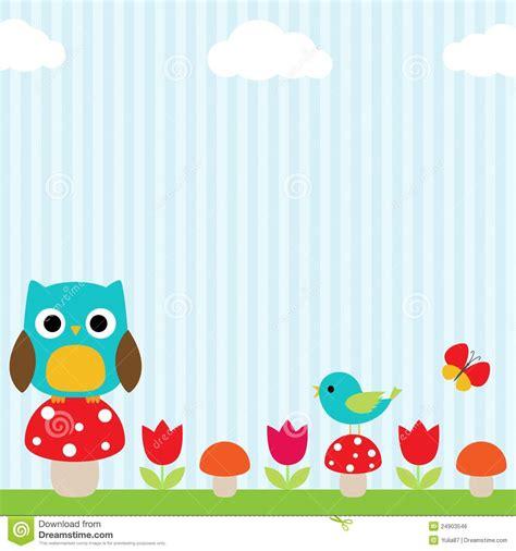 wallpaper for nursery owl background stock vector image of girl flower