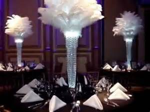 White Eiffel Tower Vases 1920 S Gatsby Inspired Ostrich Feather Centerpieces By