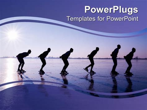 ice skates powerpoint templates powerpoint template six men ice skating at dawn in purple