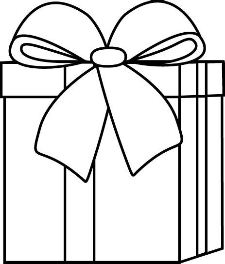 wrapped present coloring page black and white christmas gift clip art black and white