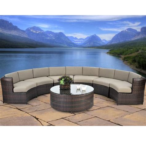 outdoor circular couch serenity 7 piece semicircle sectional sofa set all weather