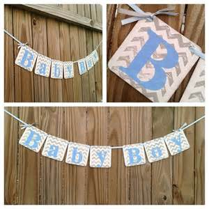 Baby Shower Chevron Decorations by Baby Shower Decorations Chevron Stripes Baby Boy Banner